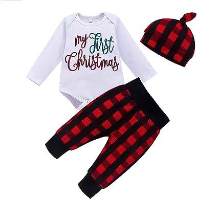 Sombrero Zapatos Trajes de Fiesta Beb/é Navidad Conjuntos de Ropa Mameluco