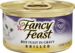 Purina 30 Cans of Fancy Feast Grilled Beef Feast in Gravy Canned Cat Food, 3-oz, ea