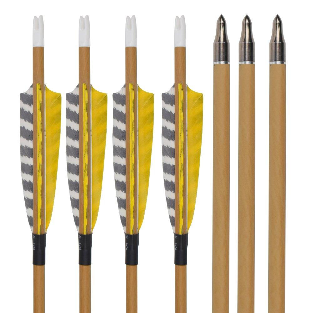 Elong 12pk 30'' Archery Carbon Arrows Wood Camo Spine 500 Turkey Feather Arrow for Recurve Bows