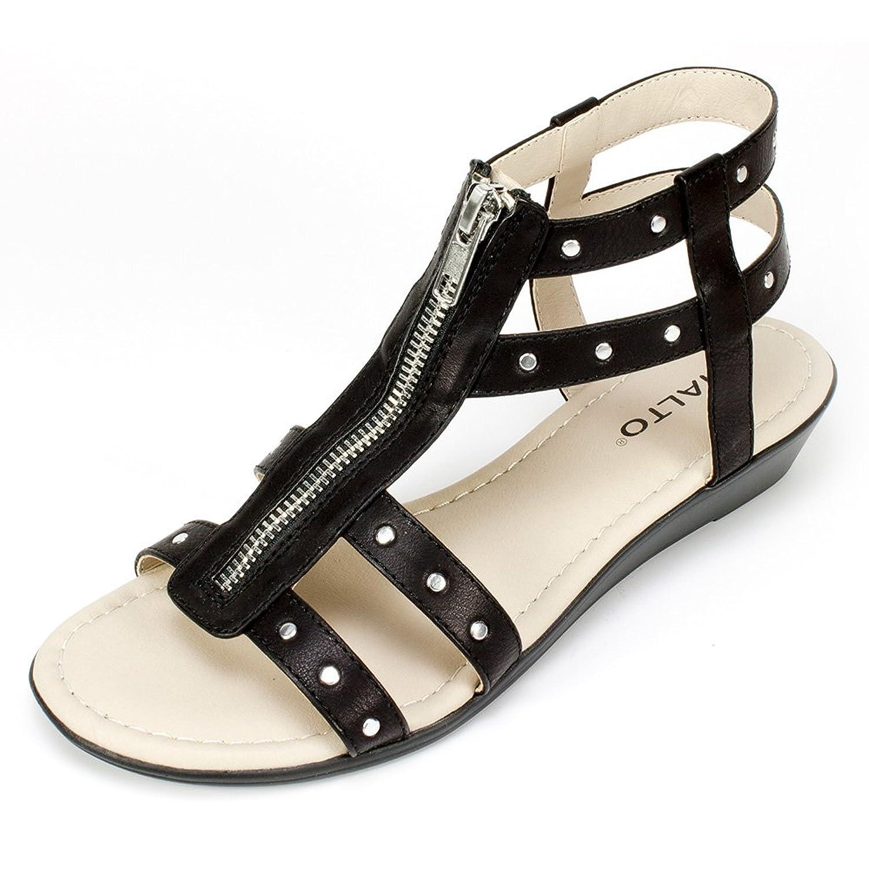 Rialto Roma Damen US 9 Schwarz Sandale oep4Fx38