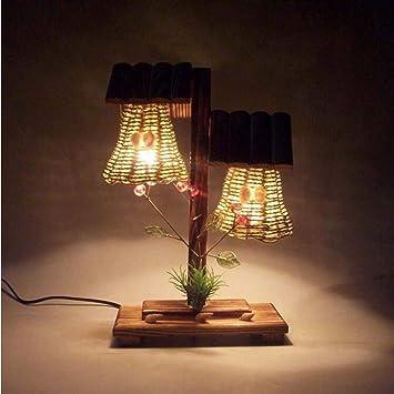 DENG Retro lámpara de Mesa de Madera Creativa decoración ...