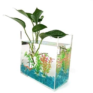 JIANGU - Acuario de Cristal con Base de cerámica, Fuente de Agua, decoración de