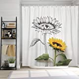 SUMGAR Yellow Flower Shower Curtain for Bathroom Natural Sunflower Decoration Gray Floral Curtain Set with Hooks, 72 x 72 inc