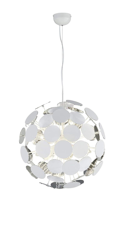 Trio Leuchten Pendelleuchte, Metall, E14, Weißmatt/Silberfarbig, 54 x 54 x 150 cm