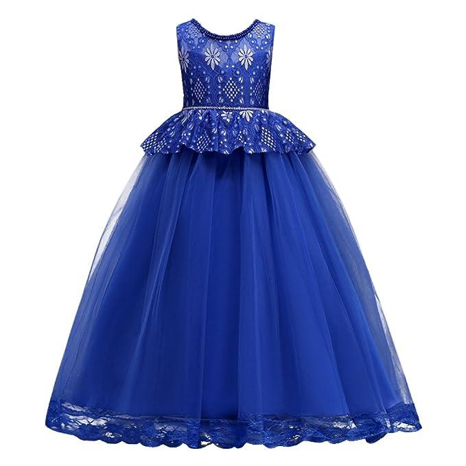 OBEEII Vestido Elegante de Niña Vestidos Largos de Encaje Ropa Verano Disfraz de princesa para Boda