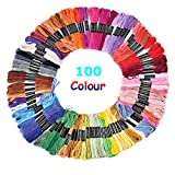#5: 100 Skeins Embroidery Floss Thread, Multi-Colored Premium Cross Stitch Threads Friendship Bracelet String - Sewing Crafts Threads with 6 Strands 8.75 Yard