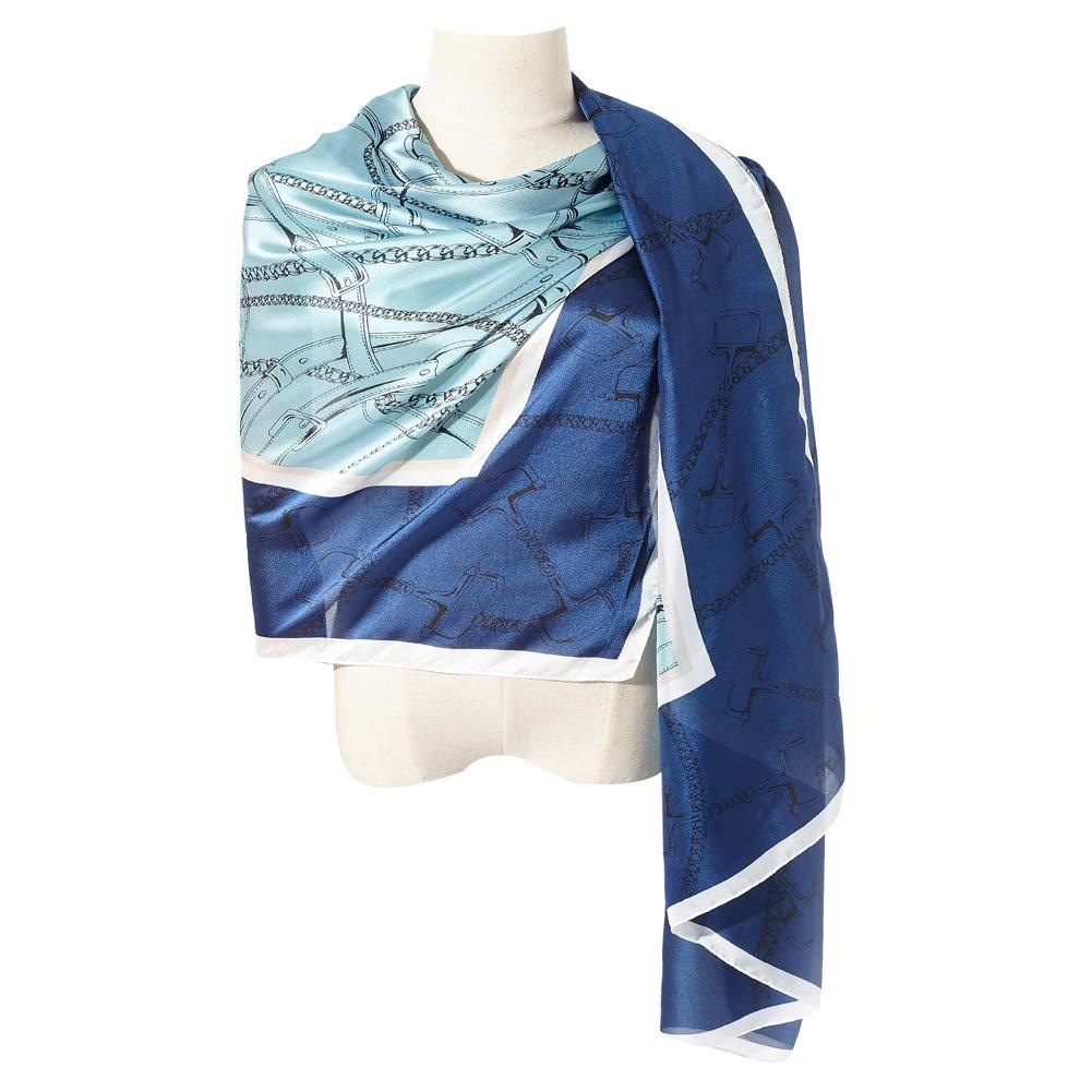 bluee Lake bluee01 Cyzlann Women's Scarves 100% Silk Long Lightweight Scarfs for women