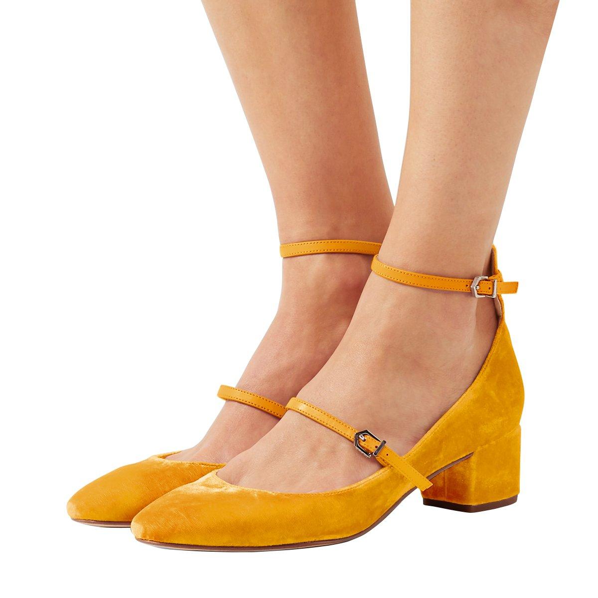 XYD Womens Retro Marry Jane Block Heel Pumps Velvet Ankle Strap Round Toe Dress Shoes Size 9.5 Orange