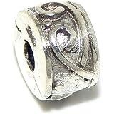 "925 Sterling Silver ""Swirls"" Clip Lock Charm Bead"