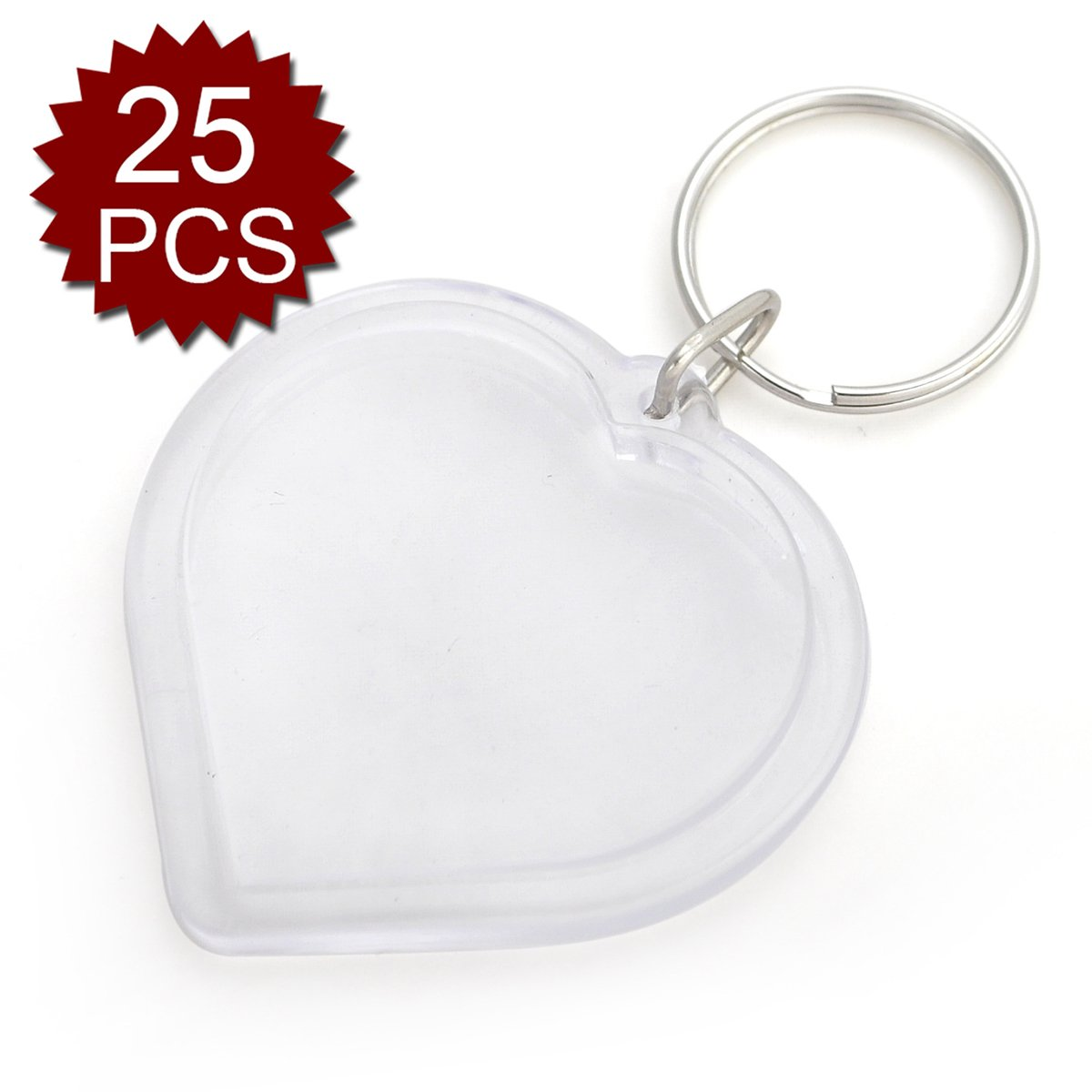GOGO 25 PCS Acrylic Photo Keychains, 2 Inch Heart Shape, Great for DIY Gift