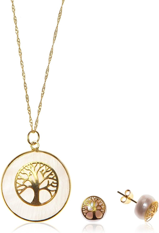 Córdoba Jewels | Conjunto de Gargantilla y Pendientes en Plata de Ley 925 bañado en Oro con Piedra semipreciosa. Diseño Árbol de la Vida Oro Nácar