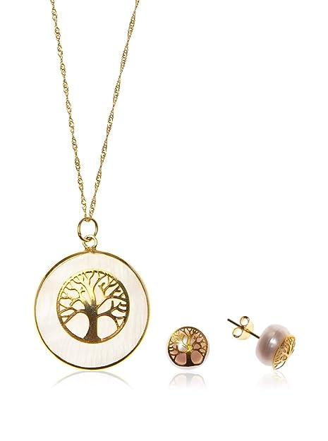 Córdoba Jewels   Conjunto de Gargantilla y Pendientes en Plata de Ley 925 bañado en Oro con Piedra semipreciosa. Diseño Árbol de la Vida Oro Nácar