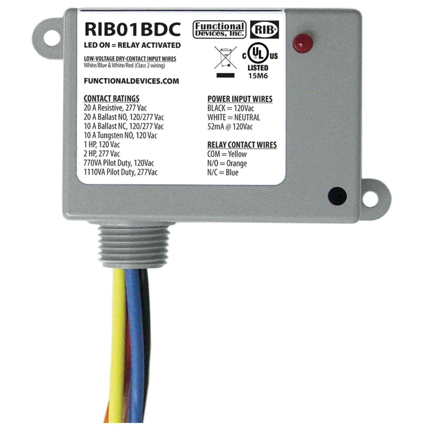 Functional Devices RIB01BDC Dry Contact Relay, 20 Amp SPDT, Class 2 Dry  Contact Input, 120 Vac Power Input, NEMA 1 Housing: Amazon.com: Industrial  & ScientificAmazon.com