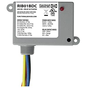 Functional Devices RIB01BDC Dry Contact Relay, 20 Amp SPDT, Class 2 Dry Contact Input, 120 Vac Power Input, NEMA 1 Housing
