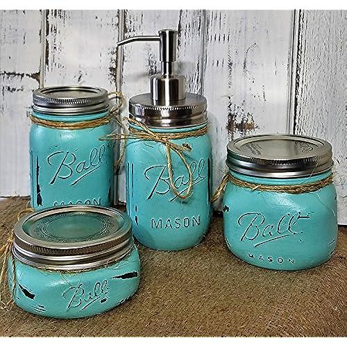 Gentil 4 Piece Mason Jar Bathroom Organization Set   Painted Mason Jar Set   Mason  Jars Soap Dispenser   Mason Jar Set   Teal Jars   Aqua Jars