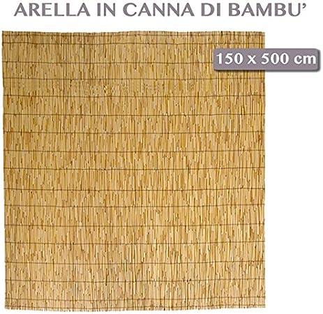 ARELLA IN BAMBU CANNUCCIATA MT 1,5x3 CON CARRUCOLA E CORDE AVVOLGIBILE 150x300