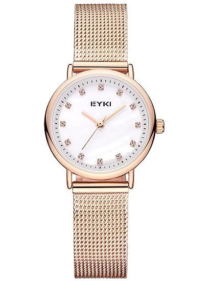 Alienwork Reloj Mujer Relojes Acero Inoxidable Oro Rosa Analógicos Cuarzo Blanco Impermeable Strass Elegante: Amazon.es: Relojes