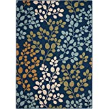 "Nourison CRB01 Caribbean Rectangle Area Rug, Navy, 5' 3"" x 7' 5"""
