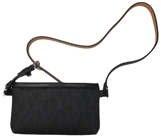 37fe613a4f6e Amazon.com: Michael Kors Leather Black Belt Signature Fanny Pack Zip ...
