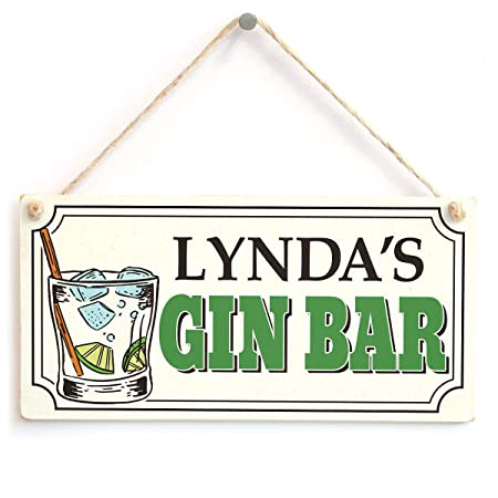 Hunnry Lyndas Gin Bar Letrero de Placa de Madera Carteles de ...