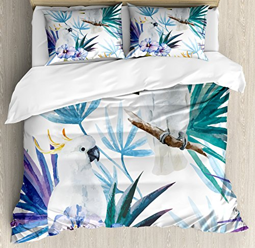 Ambesonne Tropical Duvet Cover Set, Watercolor White Parrot Birds on Palm Tree Branches Leaves Exotic Nature Theme Artwork, A Decorative 3 Piece Bedding Set with Pillow Shams, Queen/Full, White Blue