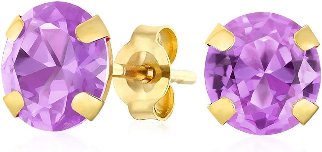 18K Yellow Gold Purple Enamel Fish Earrings 6mm