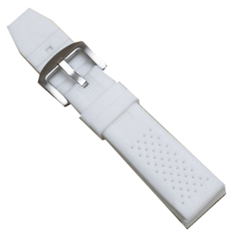 新しいホワイトシリコンラバーダイバー腕時計バンド防水スポーツバックル16 mm 18 mm 16mm ホワイト  16mm B074F1BMVT