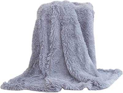 Eight24hours Super Soft Baby Blanket Large Faux Fur Long Pile Warm Shaggy Throws - Grey