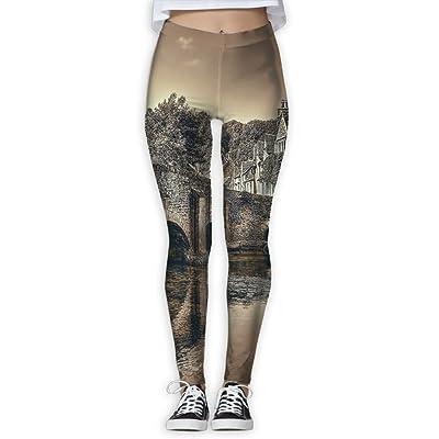 TIA HICKS Women's Castle Combe Bridge River Yoga Pants Compression Comfy Yoga Capris Power Flex Running Pants Workout Leggings