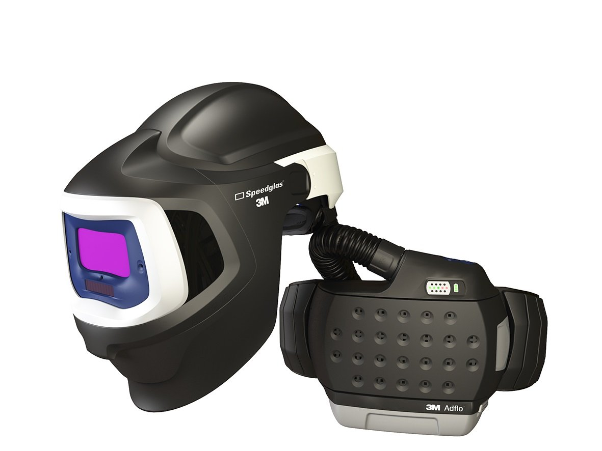 3M 37-1101-20SW Powered Air Purifying Respirator High Efficiency System with 3M Speedglas Welding Helmet 9100 MP, Lithium Ion Battery, Hard Hat, Side Windows and Auto-Darkening Filter 9100X, Shades 5, 8-13