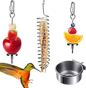 ACETOP Bird Food Holder, 4 Pieces Food Holder for Birds Stainless Steel Food Holder for Bird Cage Foraging Toys Parrot Hanging Vegetable Fruit Feeder for Cages Small Animals