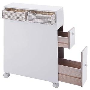 TANGKULA Bathroom Storage Wood Bathroom Rolling Floor Cabinet Wooden Floor Home Bath Toilet Organizer Floor Storage Cabinet Drawers Baskets, White (White)