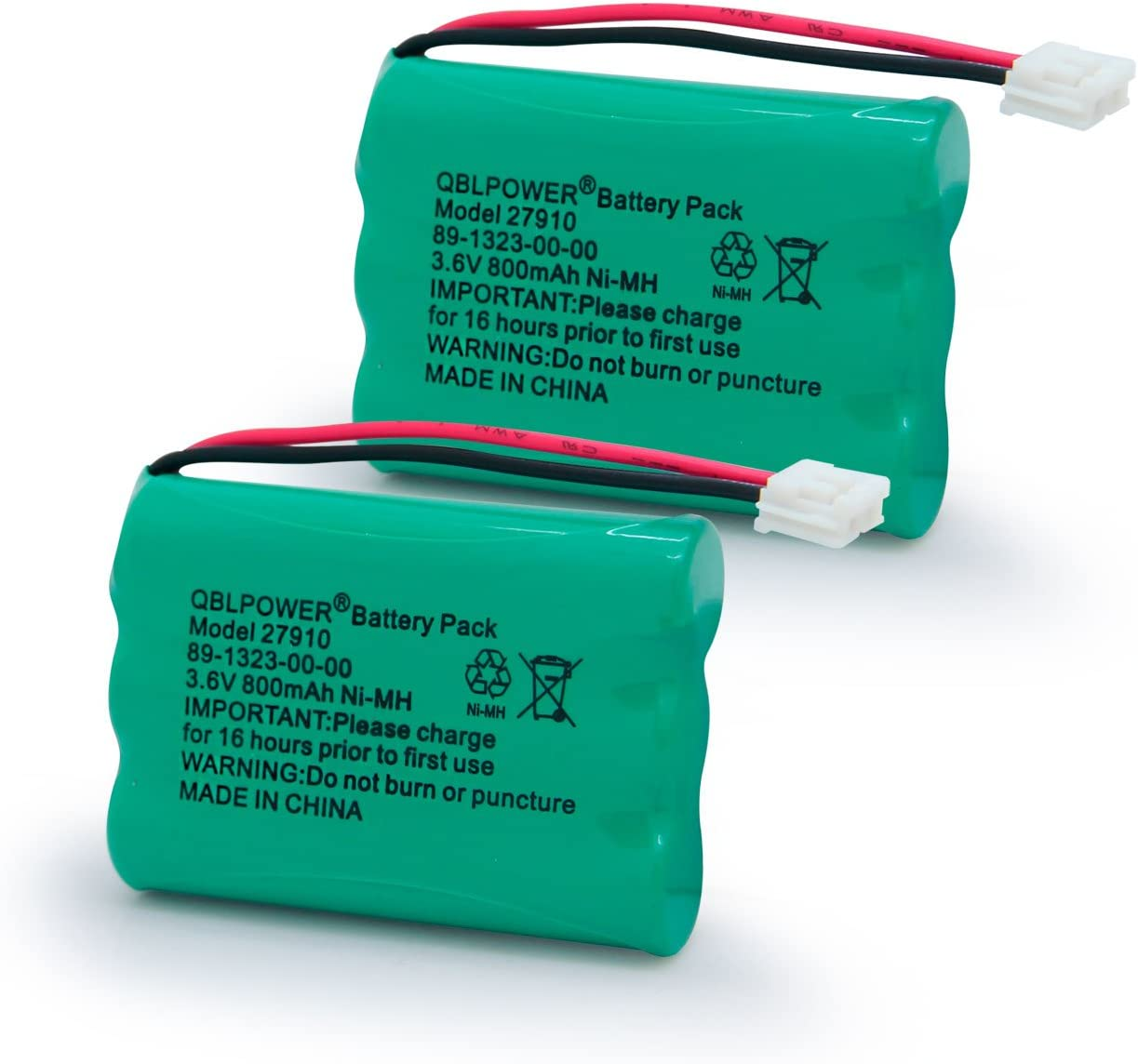 QBLPOWER 27910 Cordless Phone Battery Rechargeable Compatible with Vtech 89-1323-00-00 AT&T E1112 E2801 TL72108 Motorola SD-7501 RadioShack 23-959 Cordless Handsets 3.6V(Pack of 2)