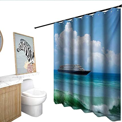 Nautical Waterproof Bathtub Curtain Traveling Themed View Of Ship In The Aquatic World With Fluffy Clouds