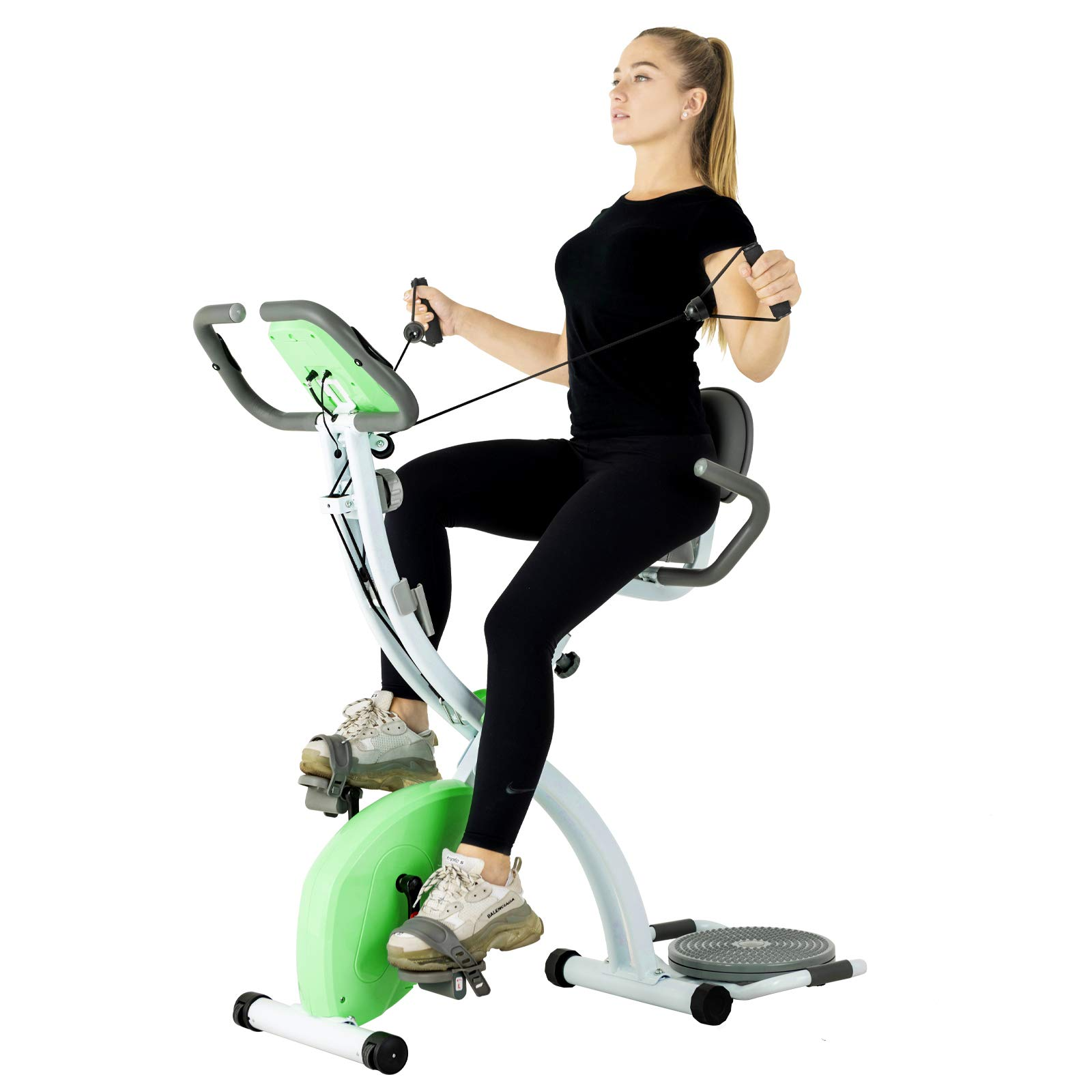 Murtisol Stationary Bike - Folding Indoor Exercise Bike with Twister Plate, Arm Resistance Bands, Extra Large&Adjustable Seat and Heart Monitor - Perfect Home Exercise Machine for Cardio, Bright Green by Murtisol