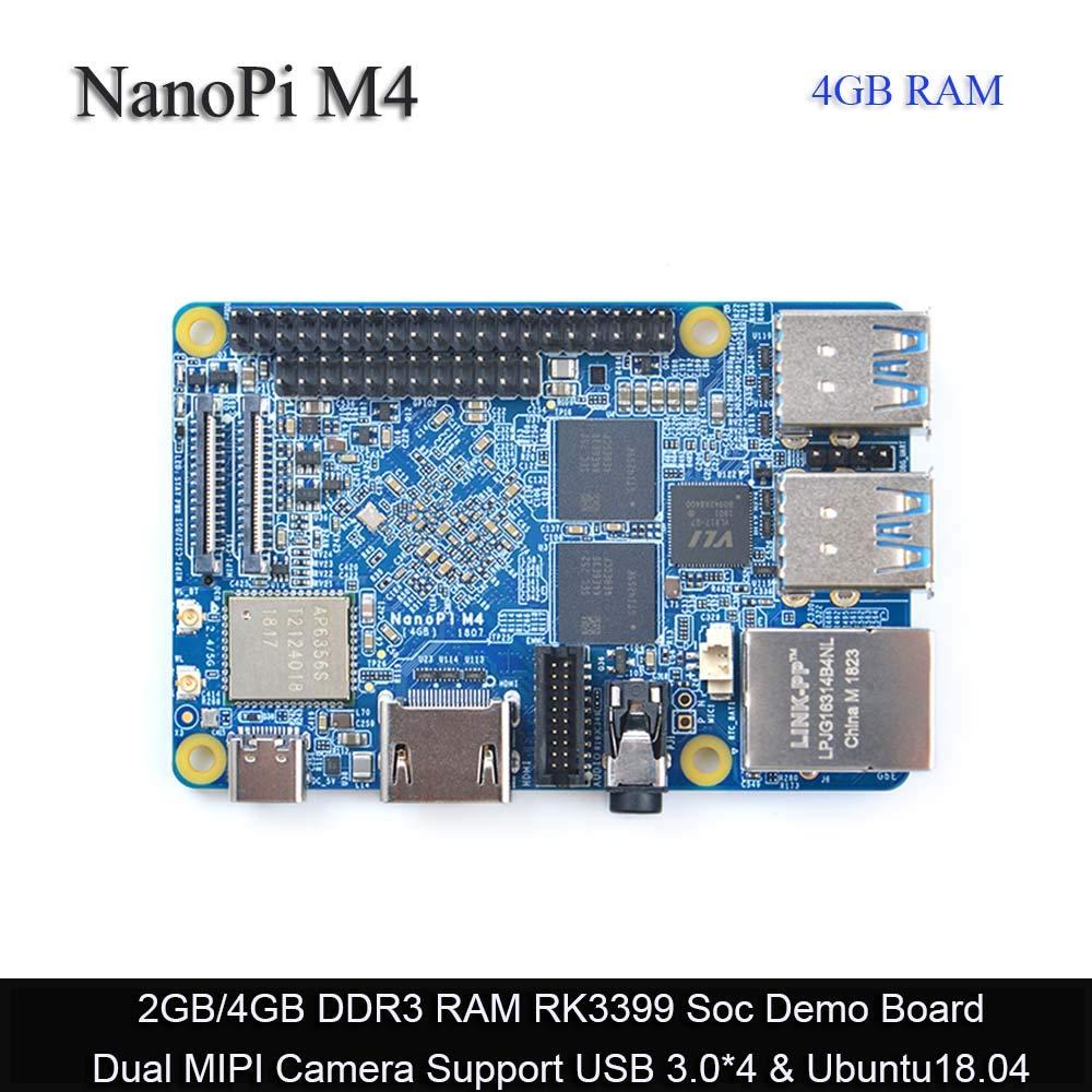 FriendlyARM NanoPi M4 4GB LPDDR3 Rockchip RK3399 SoC 2.4G & 5G Dual-Band WiFi,Support Android Ubuntu, AI deep Learning,Ship 8G eMMC Module
