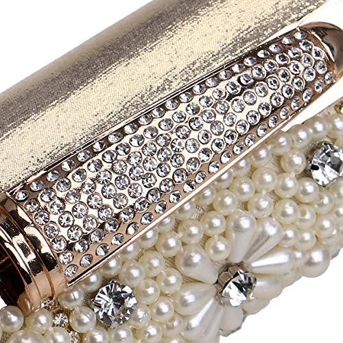 Fleur Sac Perle Bourse Diamant Mariage D'embrayage Perlé Fête Silver Clutch Pochette Femme Main Sac Prom à Soirée GODW gYqXff