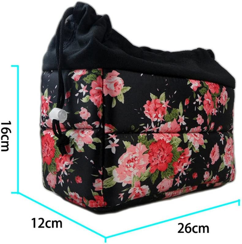 L-Peach Cute Floral DSLR SLR Camera Insert Bag Camera Inner Shockproof Case Bag Removable Partition Padded Camera Lens Accessories Storage 26x12x16cm