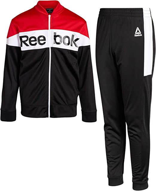 Reebok Boys 2-Piece Athletic Tricot Tracksuit Set with Zip Up ...