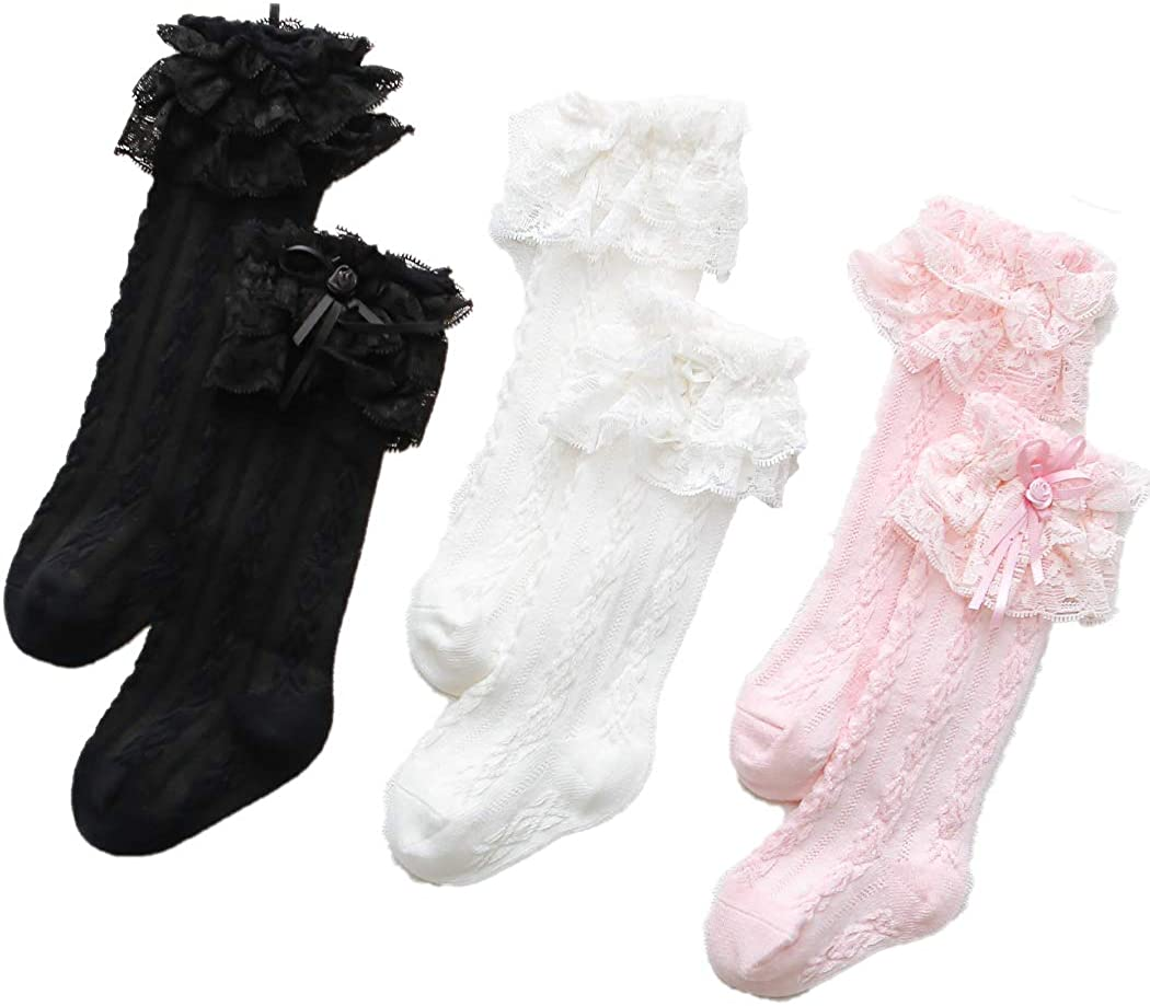 Fashion Girls Cute Lace Cotton Knee High Children Kids School Socks With Bow