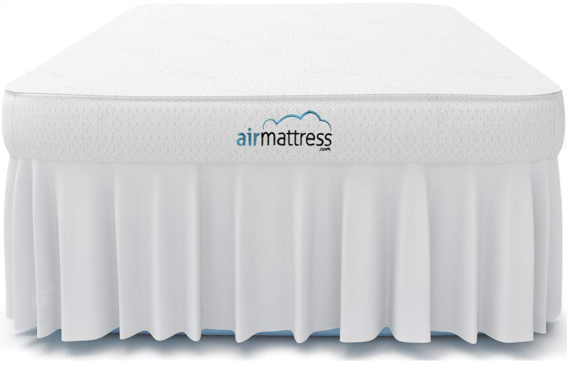 Air Mattress TWIN size - Best Choice RAISED Inflatable Bed with Fitted Sheet and Bed Skirt - Built-in High Capacity Airbed Pump