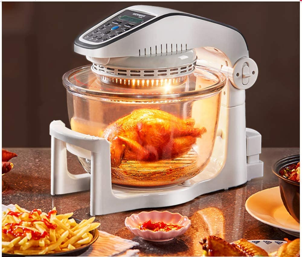 KUNHEWUHUA Muitl-function Air Fryer Household Intelligent Convection Oven oilless Big Capacity 10L with Glass Bowl Recipe Book 220v