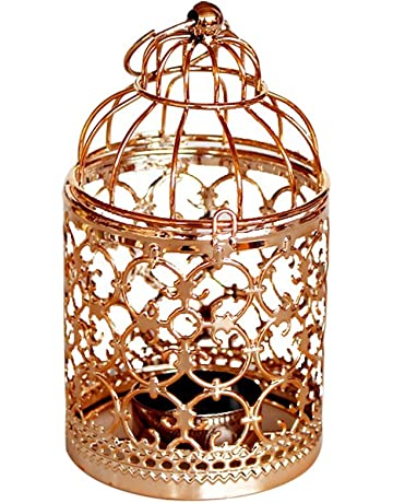 Leisial Romántica Candelabro de Hierro Metal Hollow Birdcage Candle Holder Vela Farol Vintage Europeo para Decoración