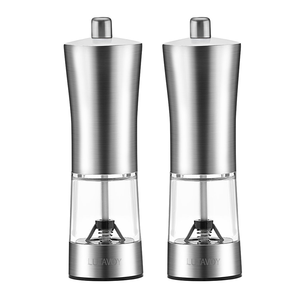 LUTAVOY PepperMills 2 Packs,Salt and Pepper Grinders Stainless Steel,No Rust,Noncorrosive Ceramic,LFGB Approved,BPA Free LK26
