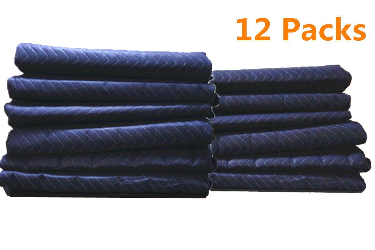 12Pack Moving Packing Blankets 82'' x 72'' Heavy Duty Professional Quality Move Pack Furniture Pads Navy Blue Color For Storage Camping Office Soundproof Protect Your Furniture During Move (40 LB/Doz)