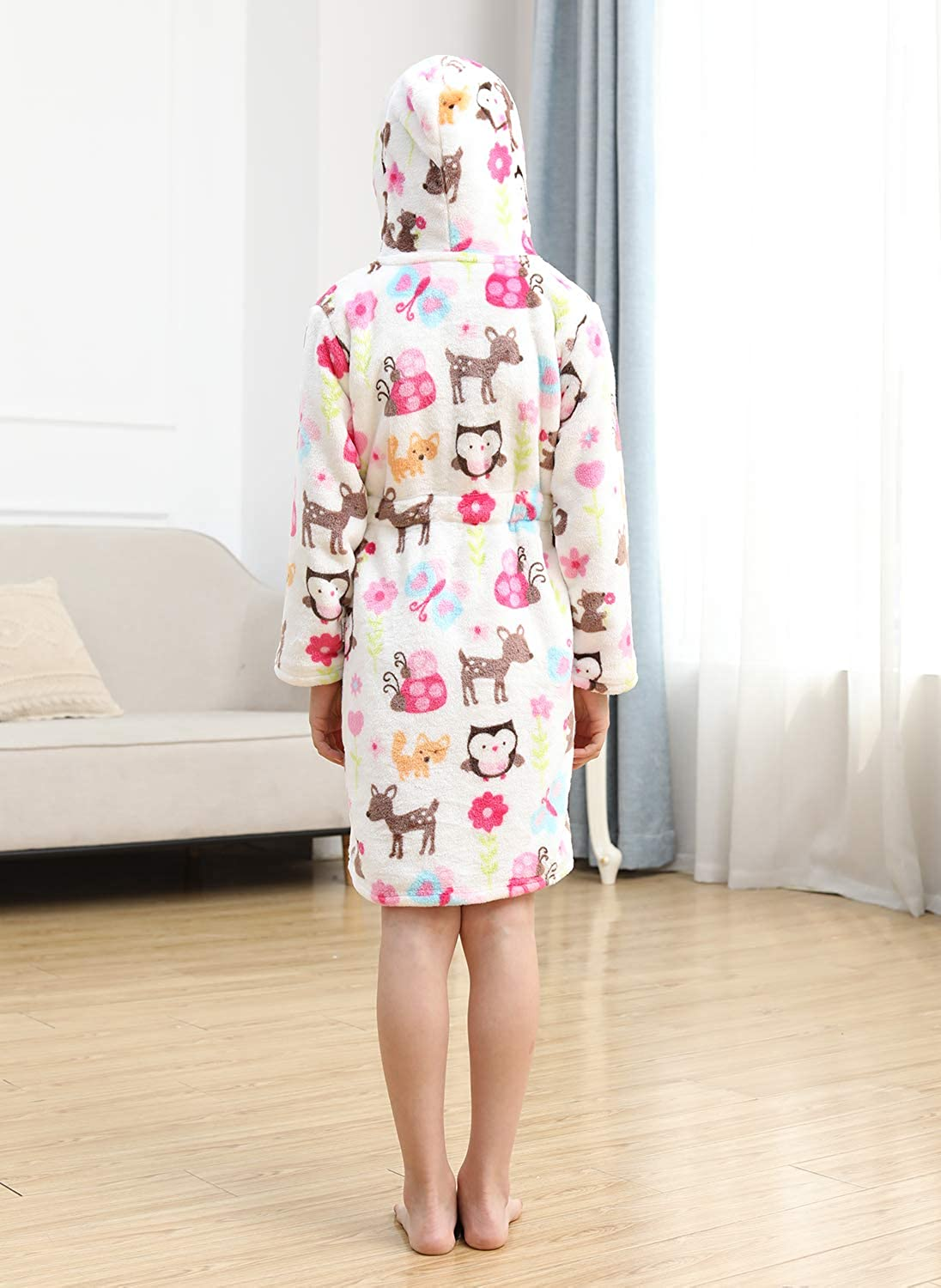 Unisex Kids Bathrobe Soft Plush Robe Warm Hooded Nightgown Gifts
