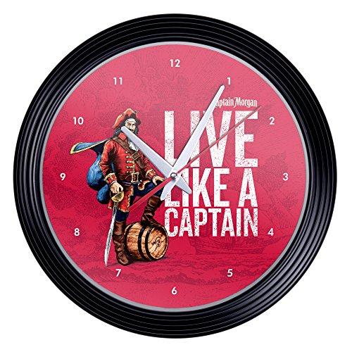 Captain Morgan 15 Inch Retro Style Wall Clock (Clock Morgan Glass)