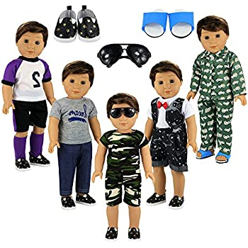 402601b72 BARWA Boy Doll Clothes 5sets Boy Doll Clothes 2 Pairs Shoes 1 Pair Glasses  Compatible for 18 Inch Boy Dolls Outfit