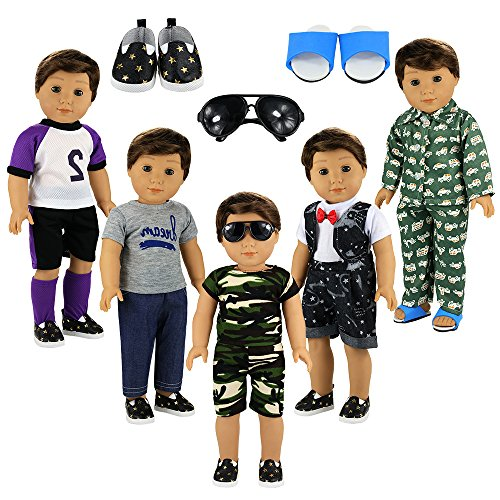 (BARWA Boy Doll Clothes 5sets Boy Doll Clothes 2 Pairs Shoes 1 Pair Glasses Compatible for 18 Inch Boy Dolls Outfit)