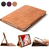 iPad 4 3 2 Case, Boriyuan Genuine Leather Smart Cover Stand for Apple iPad 4 3 2 with Card Slot [Magnetic Sleep/ Wake]+Stylus+Screen Protector, Vintage Brown